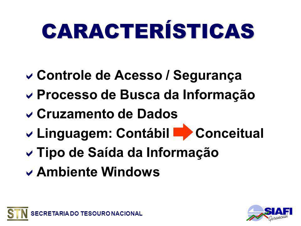 SECRETARIA DO TESOURO NACIONAL CARACTERÍSTICAS Controle de Acesso / Segurança Processo de Busca da Informação Cruzamento de Dados Linguagem: Contábil Conceitual Tipo de Saída da Informação Ambiente Windows