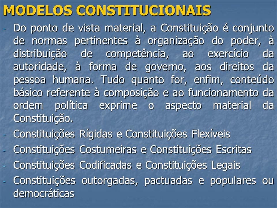 MODELOS CONSTITUCIONAIS - Do ponto de vista material, a Constituição é conjunto de normas pertinentes à organização do poder, à distribuição de competência, ao exercício da autoridade, à forma de governo, aos direitos da pessoa humana.