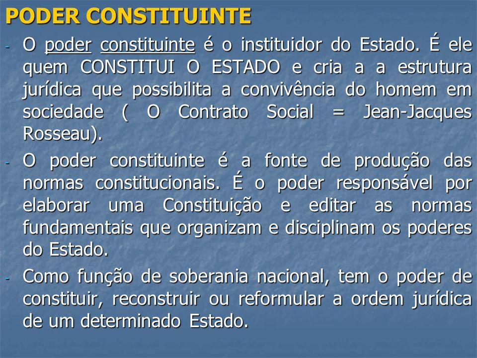 PODER CONSTITUINTE - O poder constituinte é o instituidor do Estado.