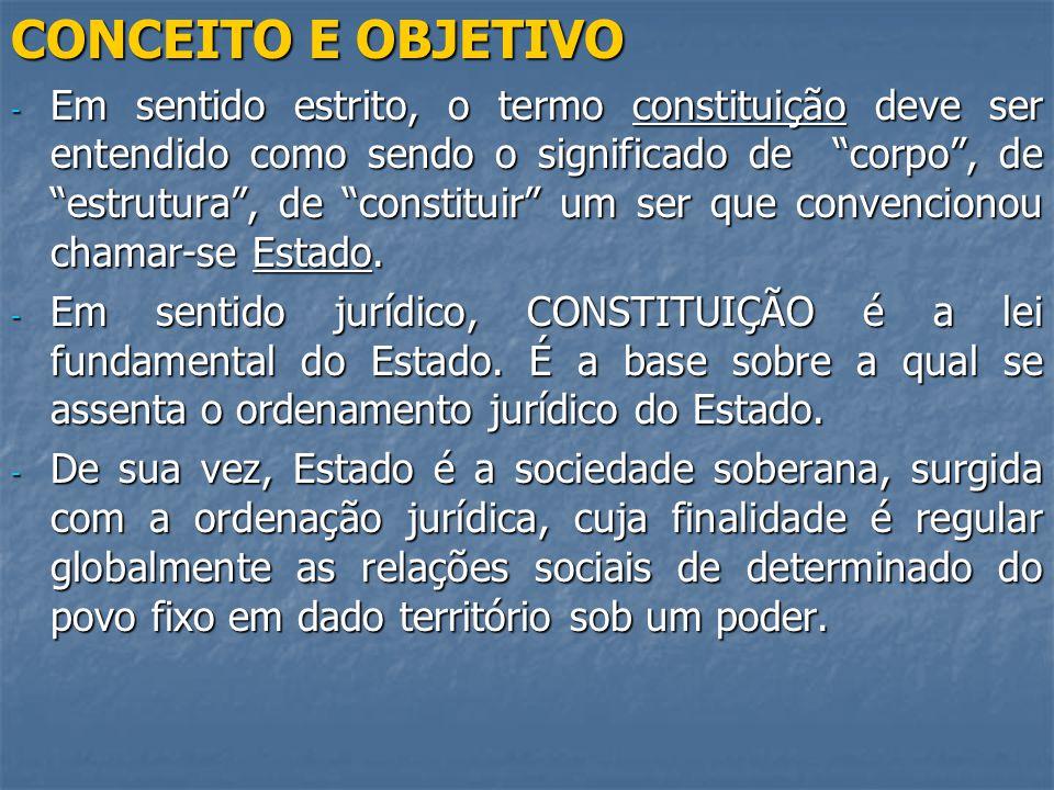 CONCEITO E OBJETIVO - Em sentido estrito, o termo constituição deve ser entendido como sendo o significado de corpo, de estrutura, de constituir um ser que convencionou chamar-se Estado.