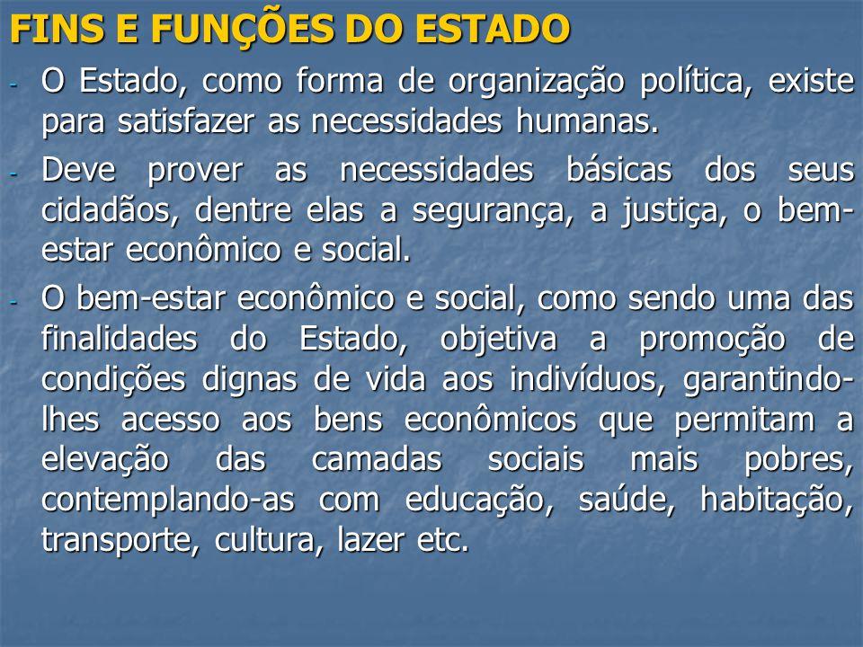 FINS E FUNÇÕES DO ESTADO - O Estado, como forma de organização política, existe para satisfazer as necessidades humanas.