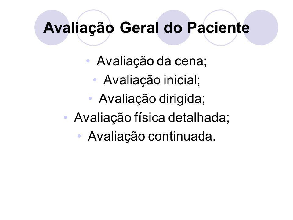 Avaliação Geral do Paciente Avaliação da cena; Avaliação inicial; Avaliação dirigida; Avaliação física detalhada; Avaliação continuada.
