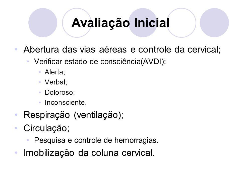 Avaliação Inicial Abertura das vias aéreas e controle da cervical; Verificar estado de consciência(AVDI): Alerta; Verbal; Doloroso; Inconsciente.