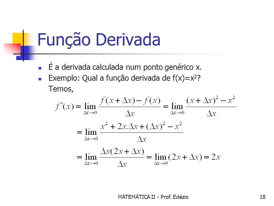MATEMÁTICA II - Prof.Edézio18 Função Derivada É a derivada calculada num ponto genérico x.