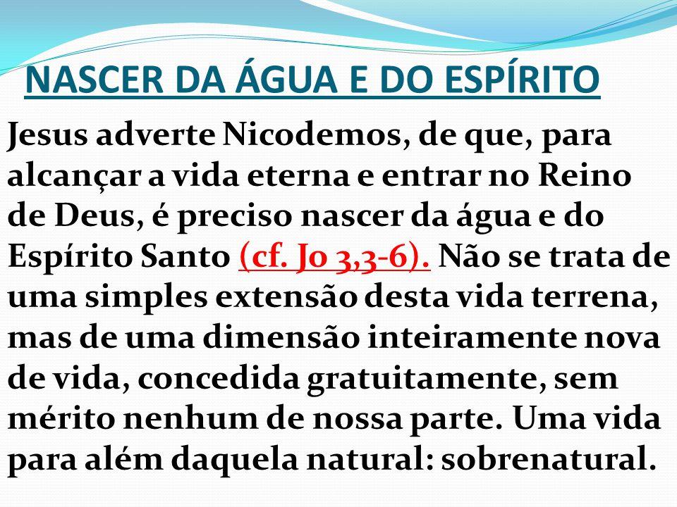 NASCER DA ÁGUA E DO ESPÍRITO Jesus adverte Nicodemos, de que, para alcançar a vida eterna e entrar no Reino de Deus, é preciso nascer da água e do Esp