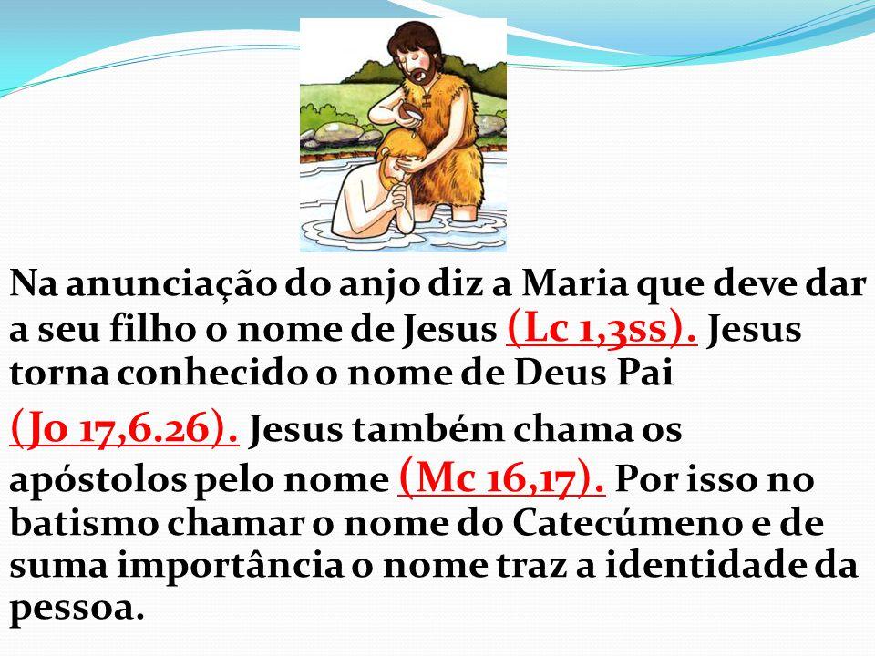 Na anunciação do anjo diz a Maria que deve dar a seu filho o nome de Jesus (Lc 1,3ss). Jesus torna conhecido o nome de Deus Pai (Jo 17,6.26). Jesus ta