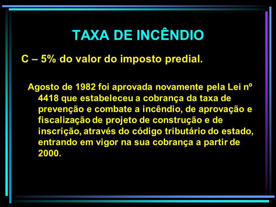 TAXA DE INCÊNDIO 01 de dezembro de 1947 (João Teixeira de Vasconcelos, Lei estadual nº 1357 de 12 de novembro de 1974. A- 30% do valor do imposto de i