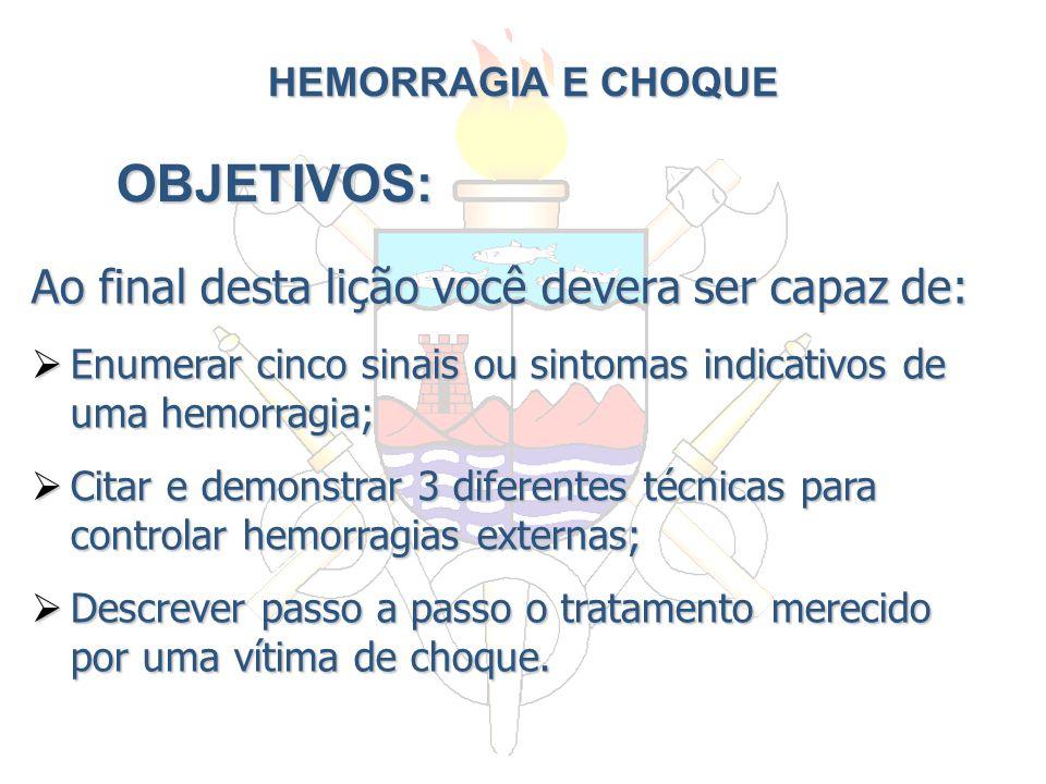 HEMORRAGIA E CHOQUE Ao final desta lição você devera ser capaz de: Enumerar cinco sinais ou sintomas indicativos de uma hemorragia; Enumerar cinco sin