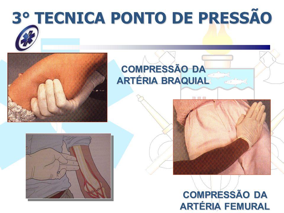 3° TECNICA PONTO DE PRESSÃO COMPRESSÃO DA ARTÉRIA BRAQUIAL COMPRESSÃO DA ARTÉRIA FEMURAL