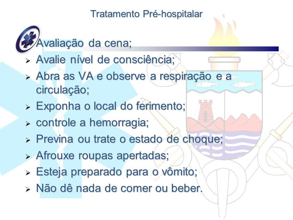 Tratamento Pré-hospitalar Avaliação da cena; Avaliação da cena; Avalie nível de consciência; Avalie nível de consciência; Abra as VA e observe a respi