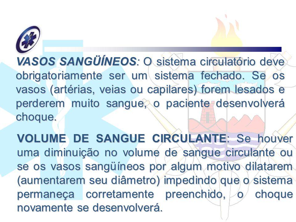 VASOS SANGÜÍNEOS: O sistema circulatório deve obrigatoriamente ser um sistema fechado. Se os vasos (artérias, veias ou capilares) forem lesados e perd