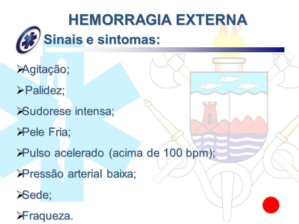 Sinais e sintomas: Agitação; Agitação; Palidez; Palidez; Sudorese intensa; Sudorese intensa; Pele Fria; Pele Fria; Pulso acelerado (acima de 100 bpm);