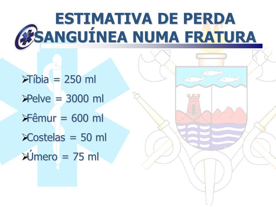 ESTIMATIVA DE PERDA SANGUÍNEA NUMA FRATURA Tíbia = 250 ml Tíbia = 250 ml Pelve = 3000 ml Pelve = 3000 ml Fêmur = 600 ml Fêmur = 600 ml Costelas = 50 m