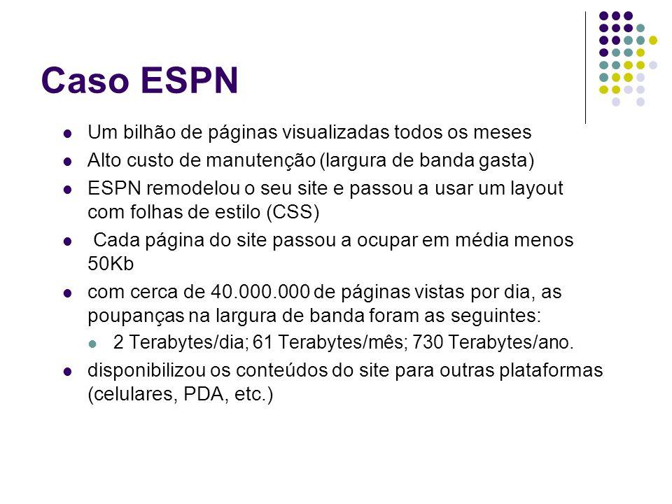 Caso ESPN Um bilhão de páginas visualizadas todos os meses Alto custo de manutenção (largura de banda gasta) ESPN remodelou o seu site e passou a usar