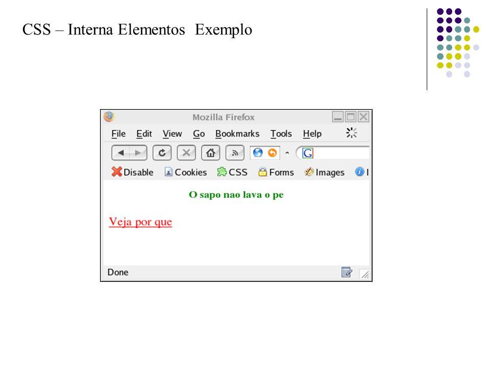 CSS – Interna Elementos Exemplo