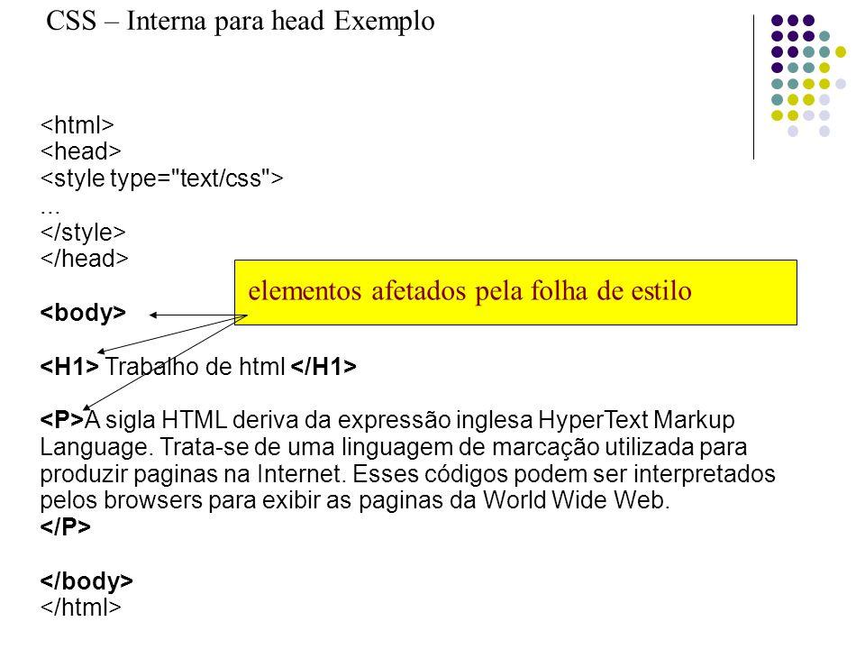 CSS – Interna para head Exemplo... Trabalho de html A sigla HTML deriva da expressão inglesa HyperText Markup Language. Trata-se de uma linguagem de m