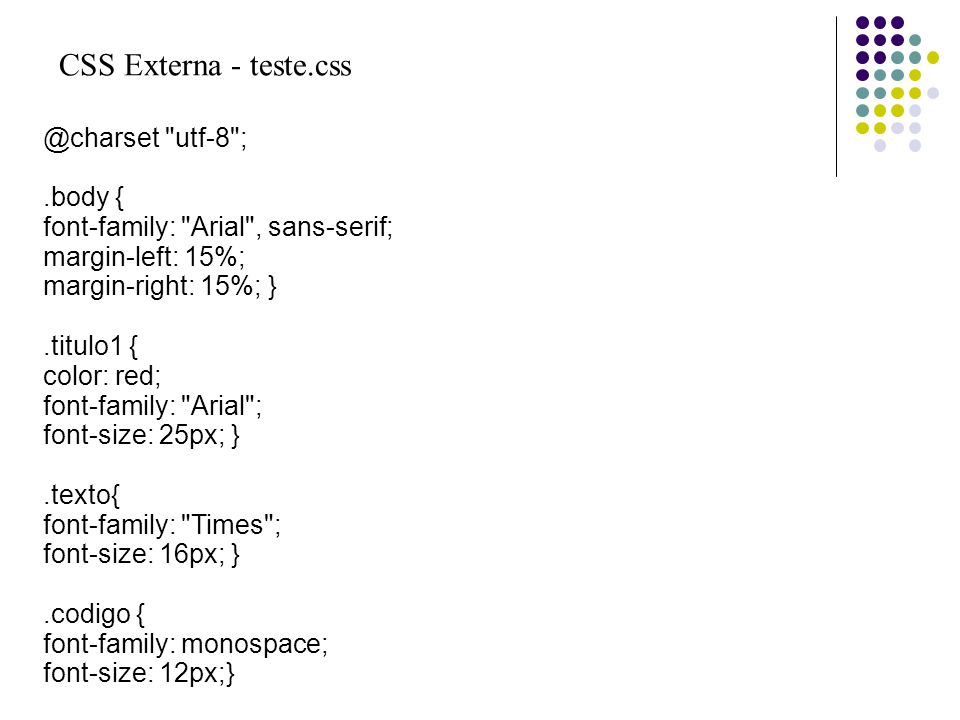 CSS Externa - teste.css @charset