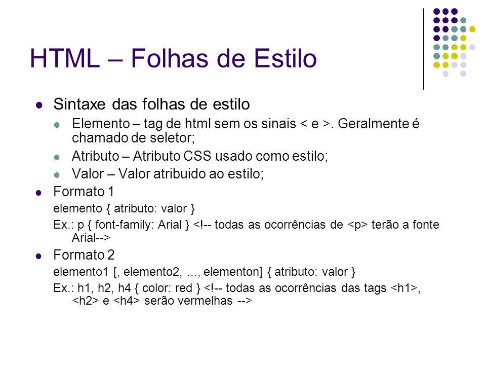 HTML – Folhas de Estilo Sintaxe das folhas de estilo Elemento – tag de html sem os sinais. Geralmente é chamado de seletor; Atributo – Atributo CSS us