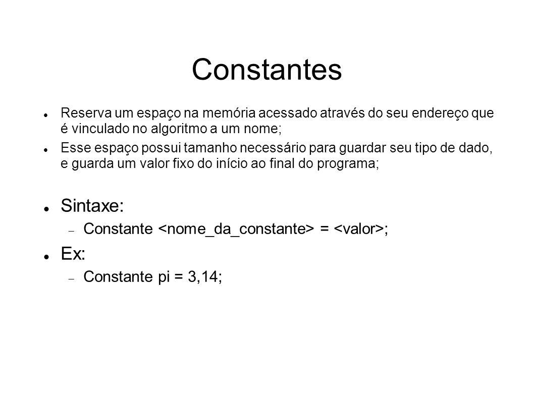 Constantes Reserva um espaço na memória acessado através do seu endereço que é vinculado no algoritmo a um nome; Esse espaço possui tamanho necessário