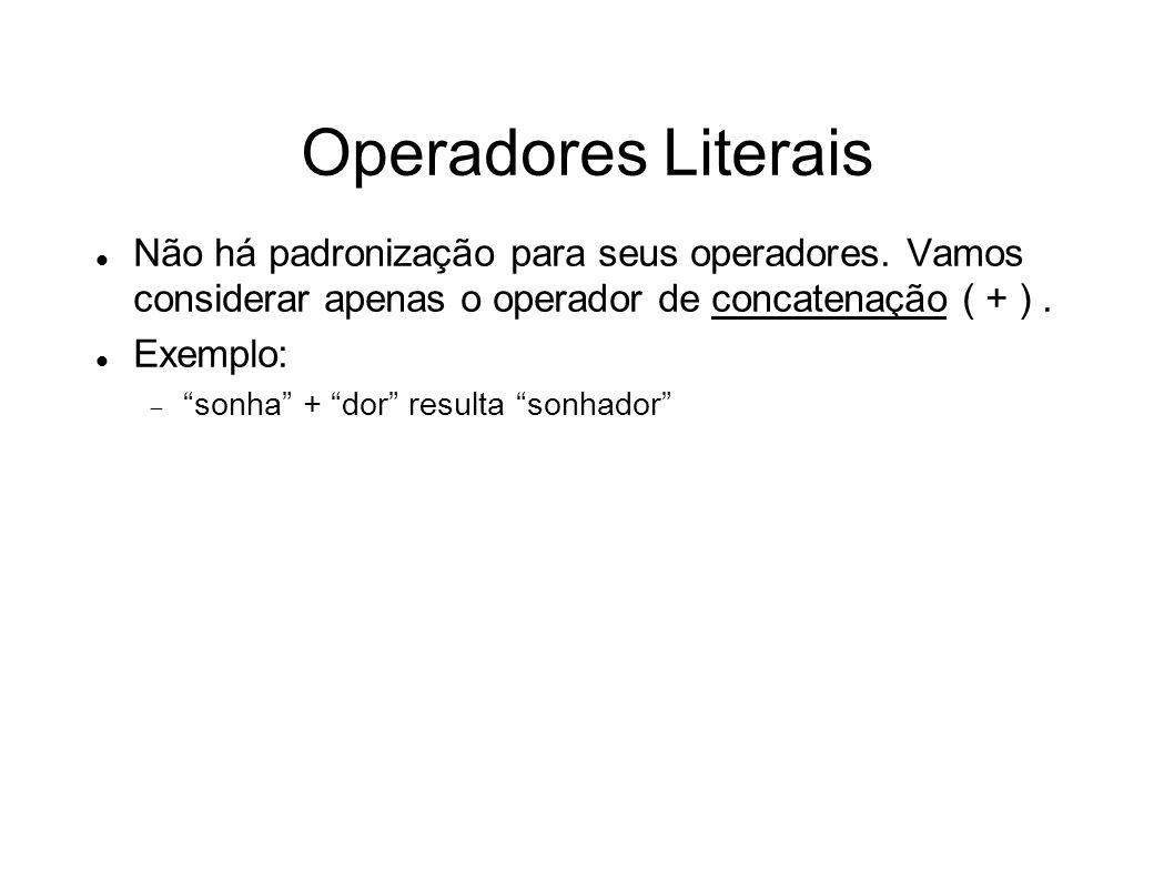 Operadores Literais Não há padronização para seus operadores. Vamos considerar apenas o operador de concatenação ( + ). Exemplo: sonha + dor resulta s