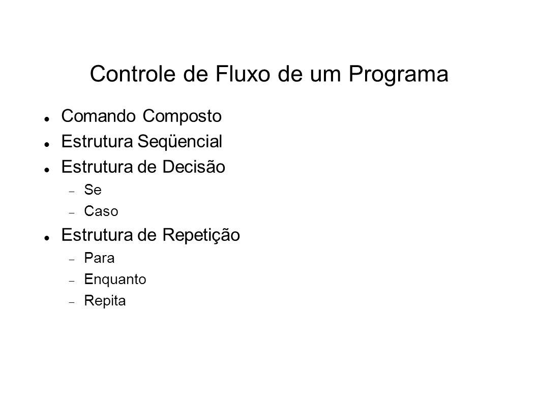 Controle de Fluxo de um Programa Comando Composto Estrutura Seqüencial Estrutura de Decisão Se Caso Estrutura de Repetição Para Enquanto Repita