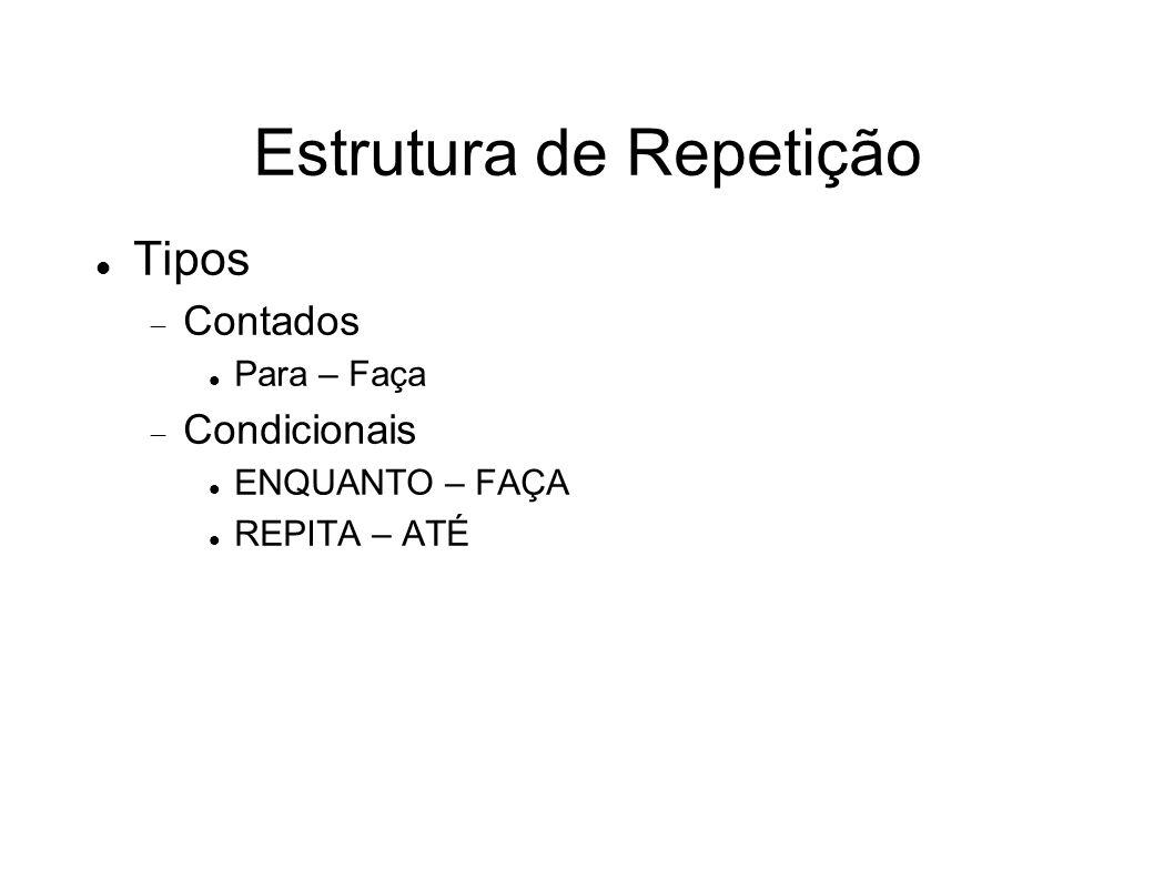 Estrutura de Repetição Tipos Contados Para – Faça Condicionais ENQUANTO – FAÇA REPITA – ATÉ