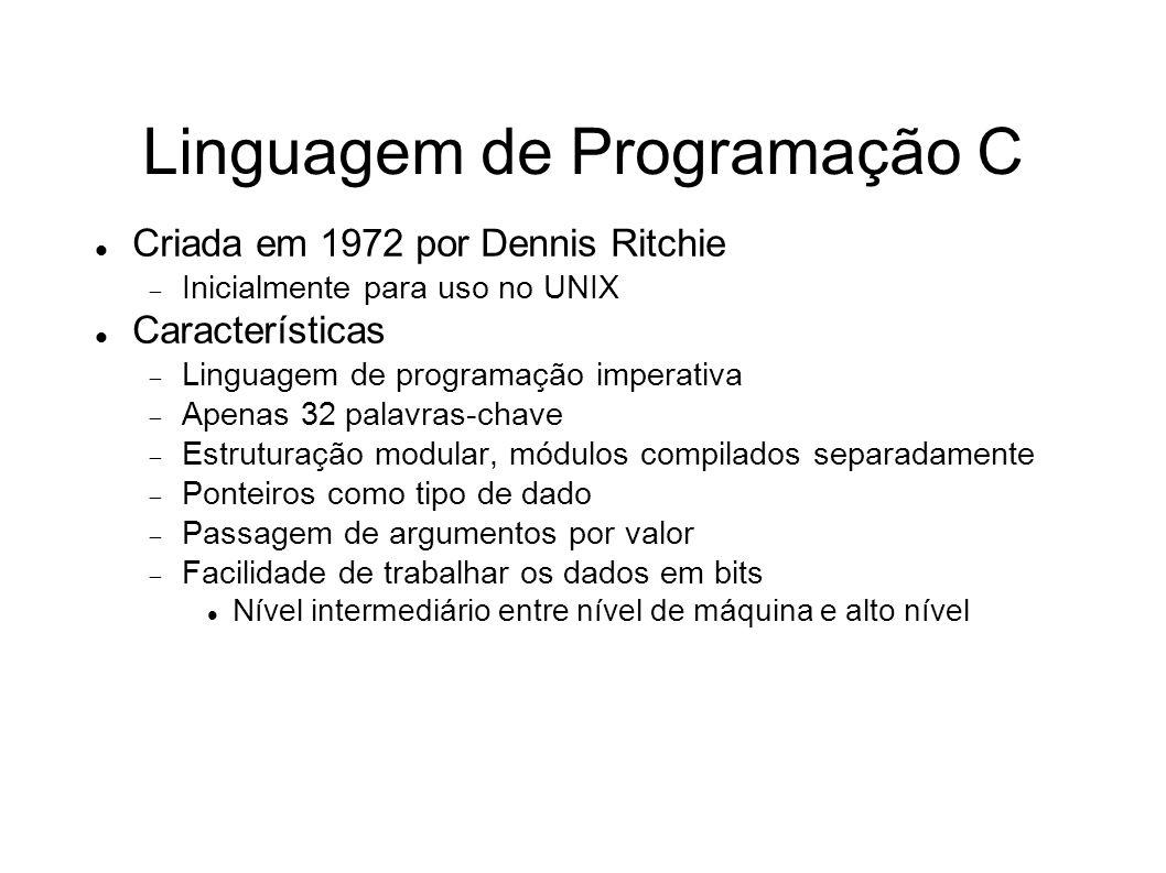 Linguagem de Programação C Criada em 1972 por Dennis Ritchie Inicialmente para uso no UNIX Características Linguagem de programação imperativa Apenas