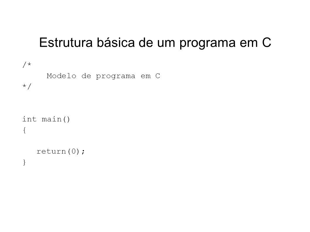 Estrutura básica de um programa em C /* Modelo de programa em C */ int main() { return(0); }
