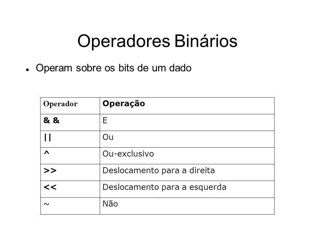 Operadores Binários Operam sobre os bits de um dado Não~ Deslocamento para a esquerda<< Deslocamento para a direita>> Ou-exclusivo^ Ou|| E& Operação O
