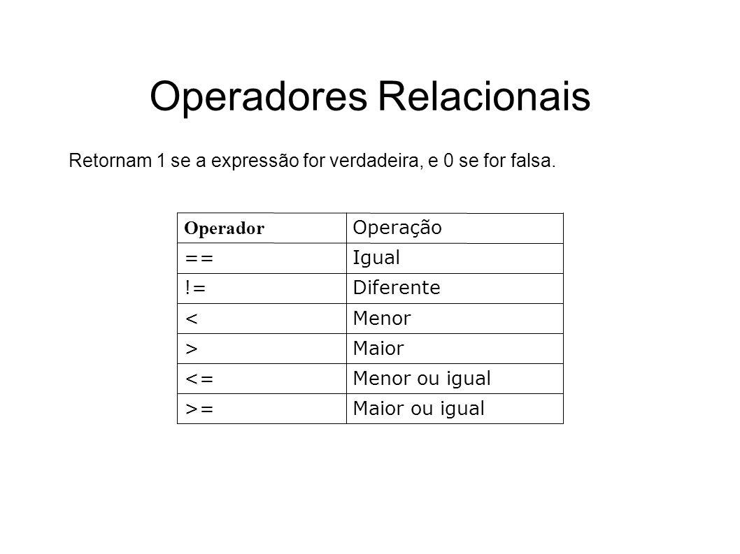 Operadores Relacionais Maior ou igual>= Menor ou igual<= Maior> Menor< Diferente!= Igual== Operação Operador Retornam 1 se a expressão for verdadeira,
