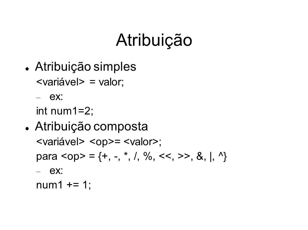 Atribuição Atribuição simples = valor; ex: int num1=2; Atribuição composta = ; para = {+, -, *, /, %, >, &, |, ^} ex: num1 += 1;