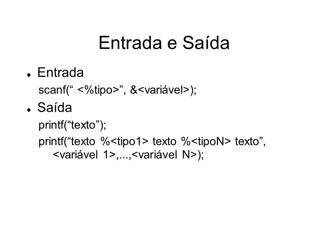 Entrada e Saída Entrada scanf(, & ); Saída printf(texto); printf(texto % texto % texto,,..., );