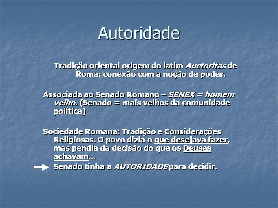 Autoridade Tradição oriental origem do latim Auctoritas de Roma: conexão com a noção de poder. Associada ao Senado Romano – SENEX = homem velho. (Sena