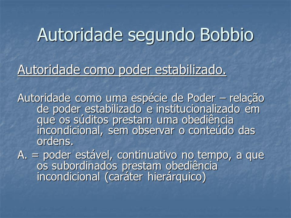 Autoridade segundo Bobbio Autoridade como poder estabilizado. Autoridade como uma espécie de Poder – relação de poder estabilizado e institucionalizad