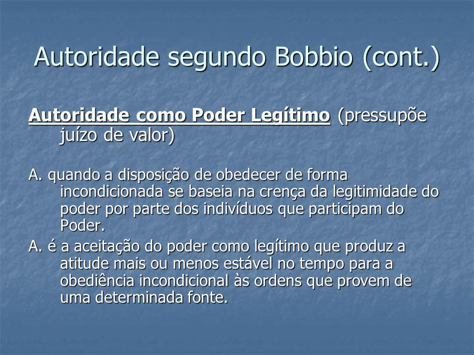 Autoridade segundo Bobbio (cont.) Autoridade como Poder Legítimo (pressupõe juízo de valor) A. quando a disposição de obedecer de forma incondicionada