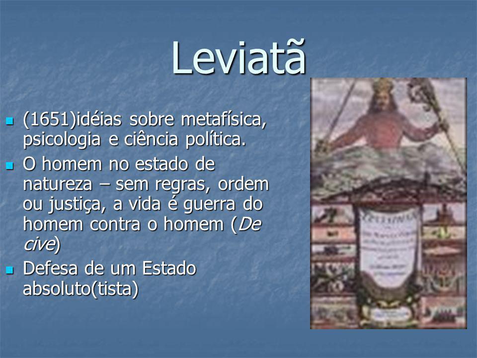 Leviatã (1651)idéias sobre metafísica, psicologia e ciência política. (1651)idéias sobre metafísica, psicologia e ciência política. O homem no estado