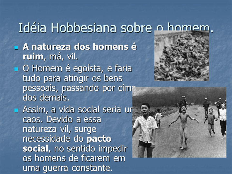 Idéia Hobbesiana sobre o homem. A natureza dos homens é ruim, má, vil. A natureza dos homens é ruim, má, vil. O Homem é egoísta, e faria tudo para ati