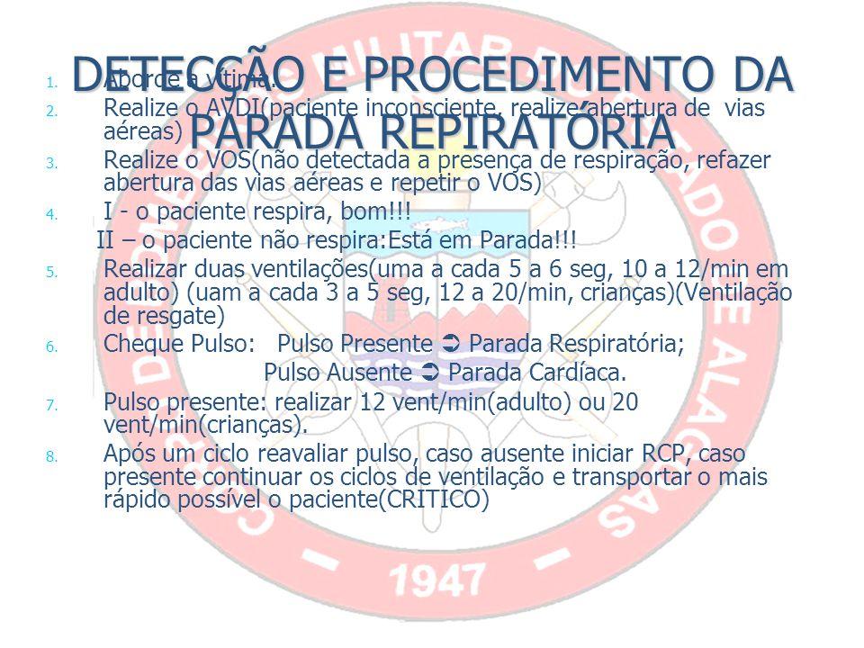 DETECÇÃO E PROCEDIMENTO DA PARADA REPIRATÓRIA 1.1.
