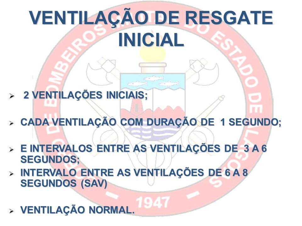 VENTILAÇÃO DE RESGATE INICIAL 2 VENTILAÇÕES INICIAIS; 2 VENTILAÇÕES INICIAIS; CADA VENTILAÇÃO COM DURAÇÃO DE 1 SEGUNDO; CADA VENTILAÇÃO COM DURAÇÃO DE 1 SEGUNDO; E INTERVALOS ENTRE AS VENTILAÇÕES DE 3 A 6 SEGUNDOS; E INTERVALOS ENTRE AS VENTILAÇÕES DE 3 A 6 SEGUNDOS; INTERVALO ENTRE AS VENTILAÇÕES DE 6 A 8 SEGUNDOS (SAV) INTERVALO ENTRE AS VENTILAÇÕES DE 6 A 8 SEGUNDOS (SAV) VENTILAÇÃO NORMAL.
