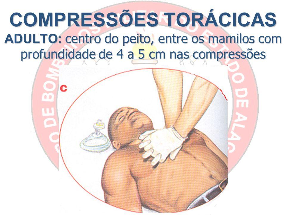 COMPRESSÕES TORÁCICAS ADULTO: centro do peito, entre os mamilos com profundidade de 4 a 5 cm nas compressões