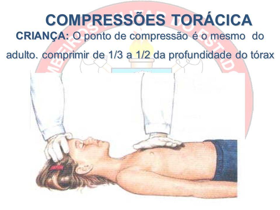 COMPRESSÕES TORÁCICA CRIANÇA: O ponto de compressão é o mesmo do adulto.