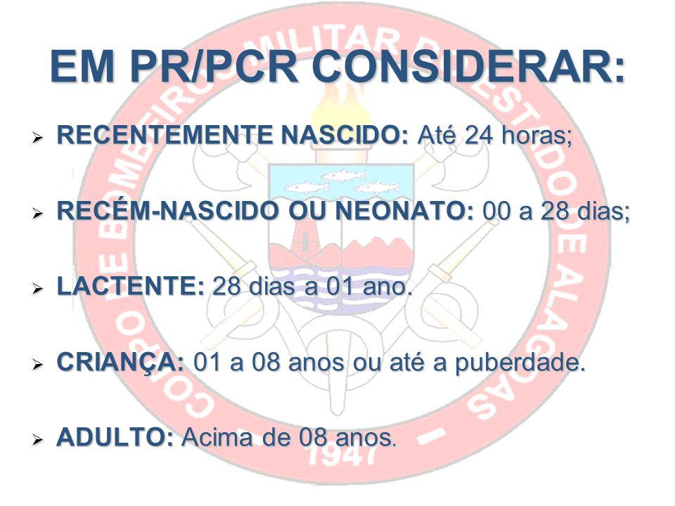 EM PR/PCR CONSIDERAR: RECENTEMENTE NASCIDO: Até 24 horas; RECENTEMENTE NASCIDO: Até 24 horas; RECÉM-NASCIDO OU NEONATO: 00 a 28 dias; RECÉM-NASCIDO OU NEONATO: 00 a 28 dias; LACTENTE: 28 dias a 01 ano.
