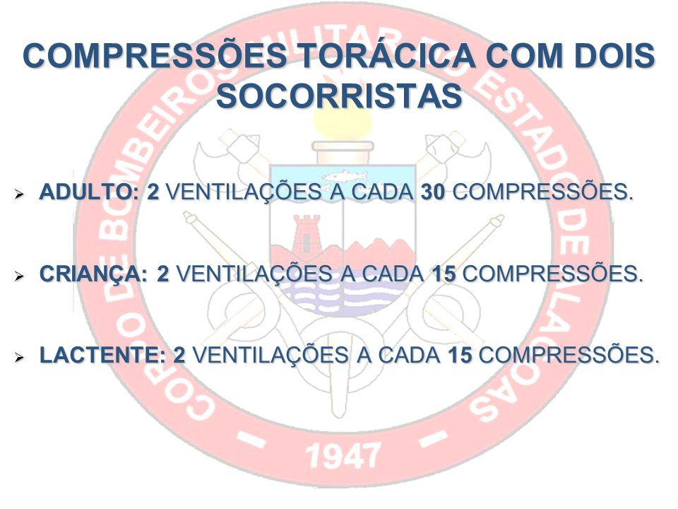 COMPRESSÕES TORÁCICA COM DOIS SOCORRISTAS ADULTO: 2 VENTILAÇÕES A CADA 30 COMPRESSÕES.