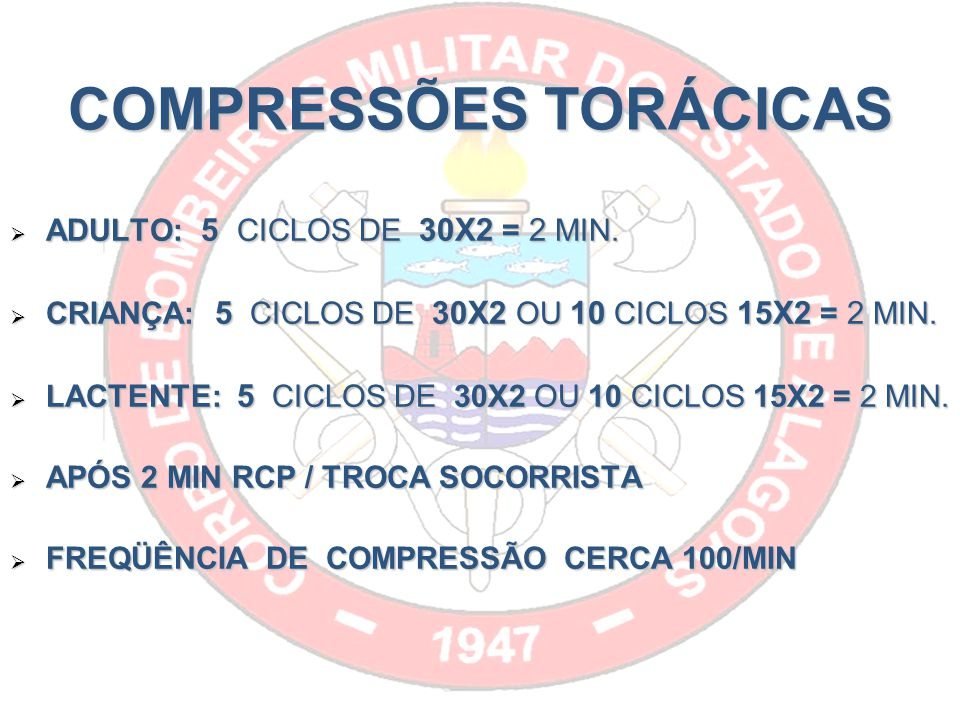 COMPRESSÕES TORÁCICAS ADULTO: 5 CICLOS DE 30X2 = 2 MIN.
