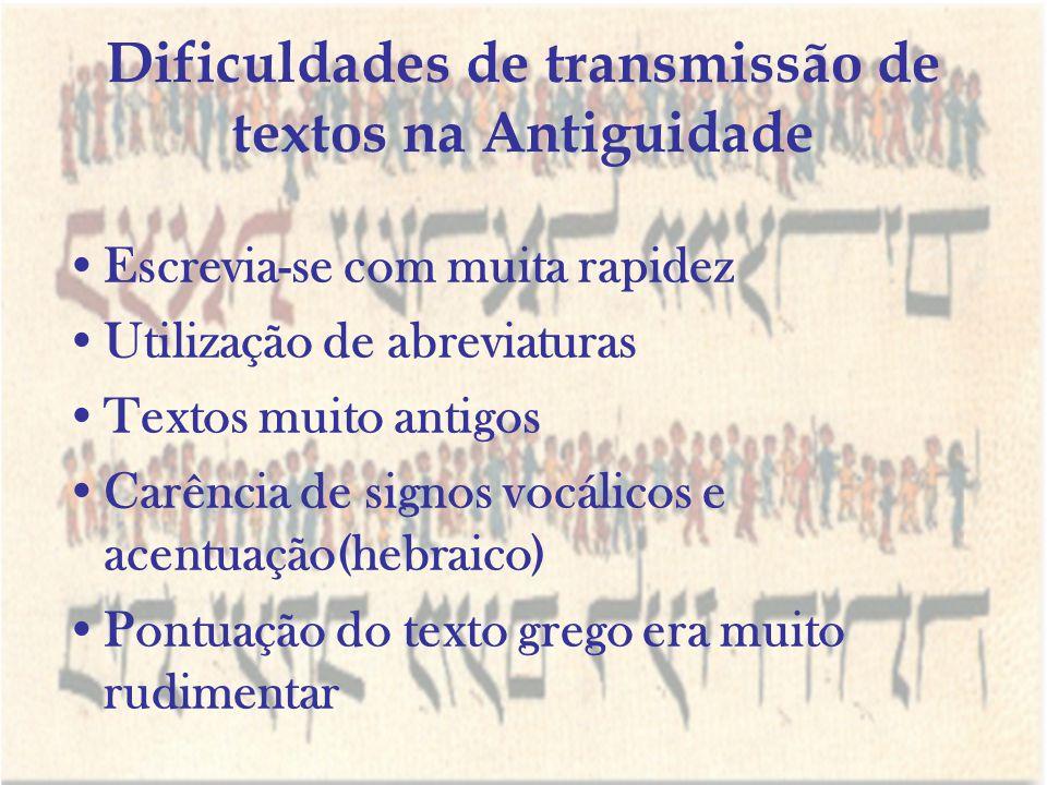Dificuldades de transmissão de textos na Antiguidade Escrevia-se com muita rapidez Utilização de abreviaturas Textos muito antigos Carência de signos
