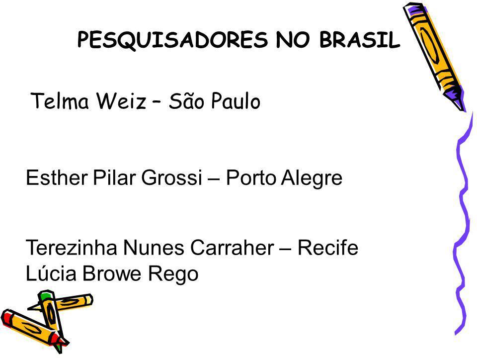 PESQUISADORES NO BRASIL Telma Weiz – São Paulo Esther Pilar Grossi – Porto Alegre Terezinha Nunes Carraher – Recife Lúcia Browe Rego