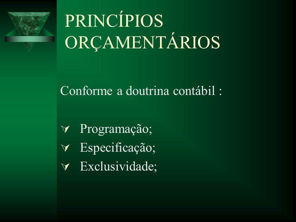 PRINCÍPIOS ORÇAMENTÁRIOS Conforme a doutrina contábil : Programação; Especificação; Exclusividade;