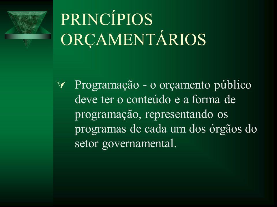 PRINCÍPIOS ORÇAMENTÁRIOS Programação - o orçamento público deve ter o conteúdo e a forma de programação, representando os programas de cada um dos órgãos do setor governamental.