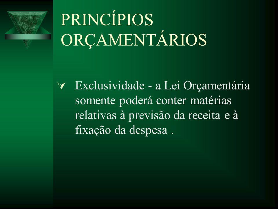 PRINCÍPIOS ORÇAMENTÁRIOS Exclusividade - a Lei Orçamentária somente poderá conter matérias relativas à previsão da receita e à fixação da despesa.