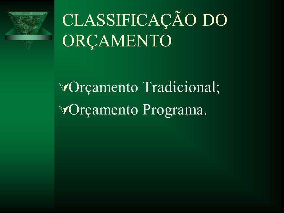CLASSIFICAÇÃO DO ORÇAMENTO Orçamento Tradicional; Orçamento Programa.